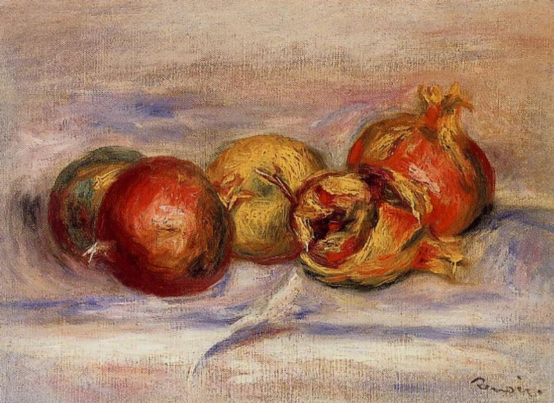 Three Pomegranates and Two Apples. Pierre-Auguste Renoir