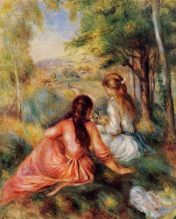 Picking Flowers (also known as In the Field) - 1890. Pierre-Auguste Renoir