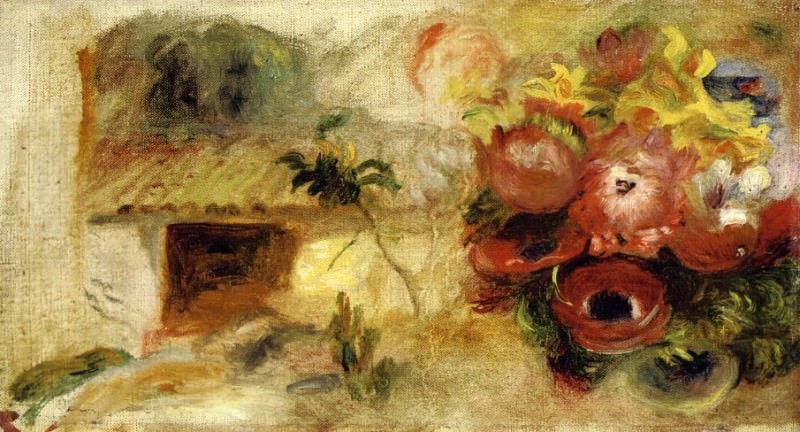 Small House, Buttercups and Diverse Flowers (study) - 1910. Pierre-Auguste Renoir