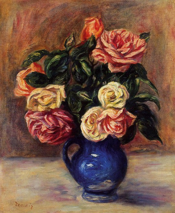 Roses in a Blue Vase - 1900. Пьер Огюст Ренуар