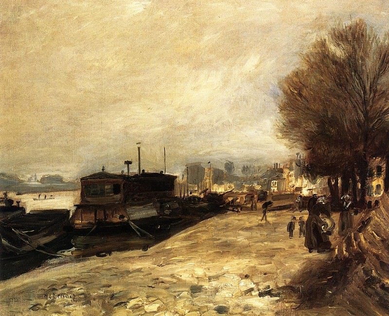 Laundry Boat by the Banks of the Seine, near Paris - 1872 - 1873. Пьер Огюст Ренуар