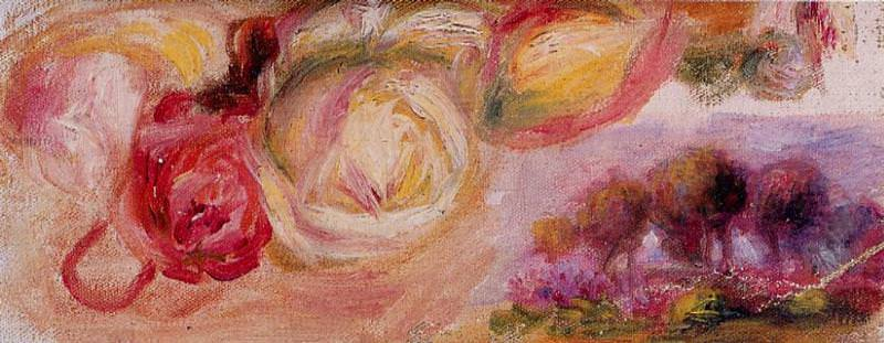 Roses with a Landscape - 1912. Pierre-Auguste Renoir