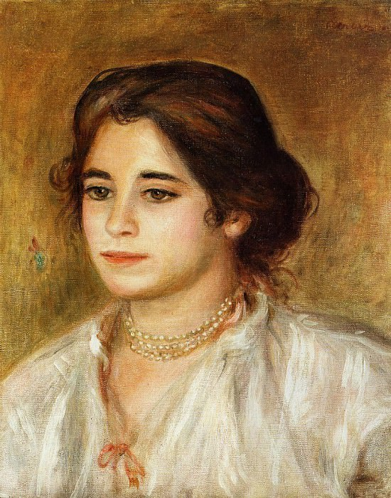 Gabrielle Wearing a Necklace - 1906. Pierre-Auguste Renoir