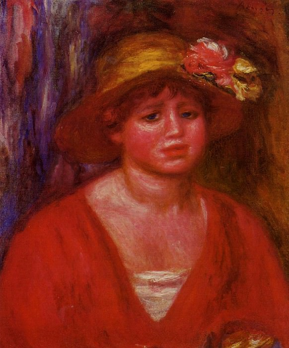 Bust of a Young Woman in a Red Blouse - 1915. Pierre-Auguste Renoir