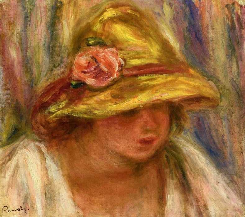 Study of a Woman in a Yellow Hat. Пьер Огюст Ренуар