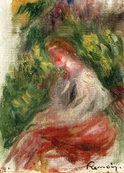 Young Woman, Seated. Pierre-Auguste Renoir