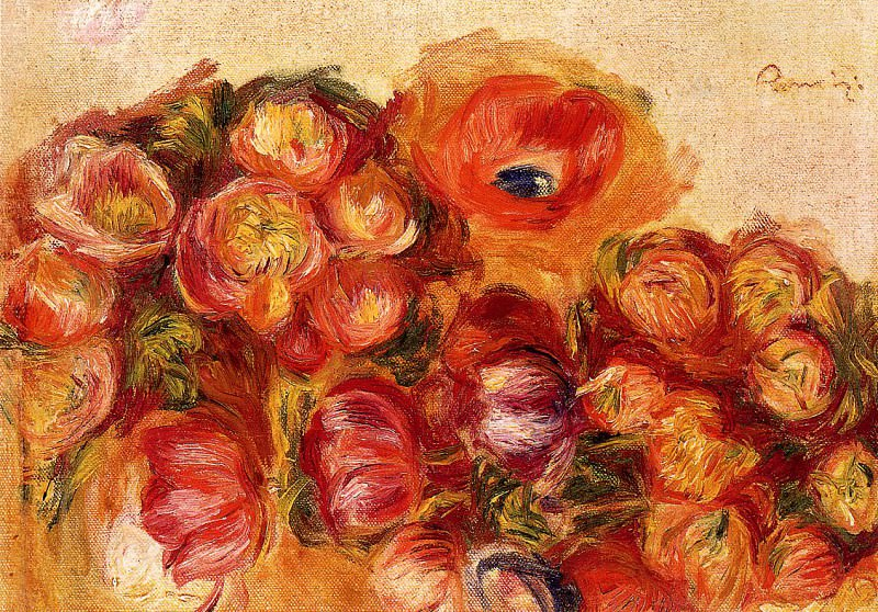 Study of Flowers - Anemones and Tulips. Pierre-Auguste Renoir