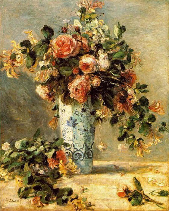Roses and Jasmine in a Delft Vase - 1880 - 1881. Pierre-Auguste Renoir
