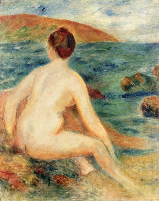 Nude Bather Seated by the Sea - 1882. Pierre-Auguste Renoir