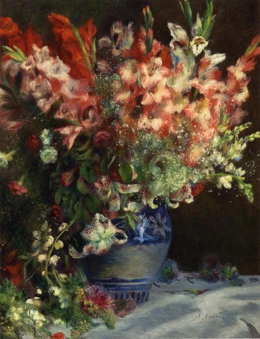 Gladiolas in a Vase - ок 1874 -1875. Пьер Огюст Ренуар