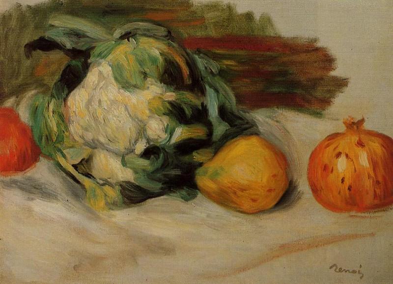 Cauliflower and Pomegranates - 1890. Pierre-Auguste Renoir