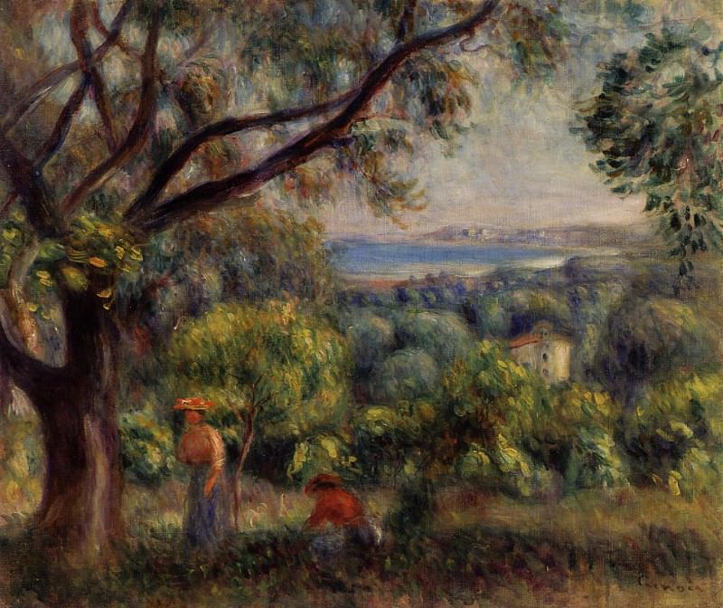 Cagnes Landscape (also known as View of Collettes) - 1895. Pierre-Auguste Renoir