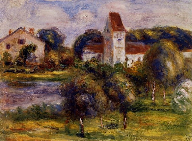 Breton Landscape - Church and Orchard. Pierre-Auguste Renoir