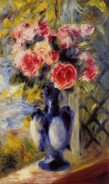 Bouquet of Roses in a Blue Vase - 1892. Pierre-Auguste Renoir
