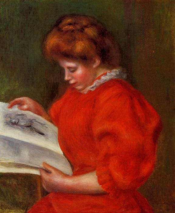 Young Woman Looking at a Print - 1896. Pierre-Auguste Renoir