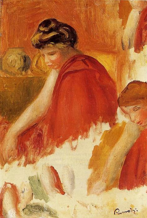Two Women in Red Robes. Pierre-Auguste Renoir