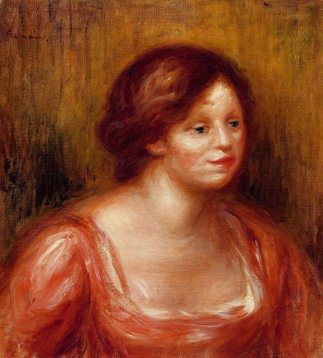 Bust of a Woman in a Red Blouse - 1905. Pierre-Auguste Renoir