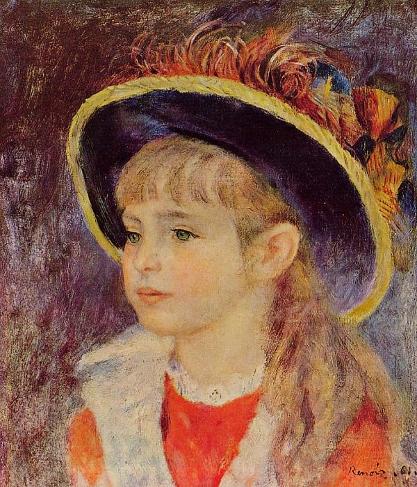 Young Girl in a Blue Hat - 1881. Пьер Огюст Ренуар