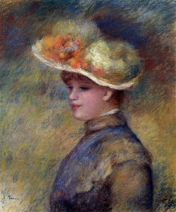 Young Woman Wearing a Hat. Pierre-Auguste Renoir