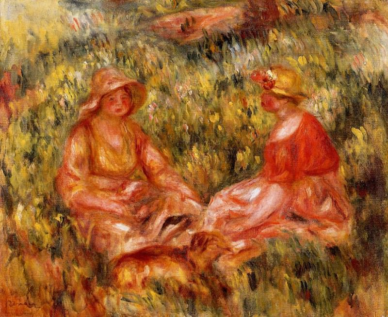 Two Women in the Grass - 1910. Пьер Огюст Ренуар