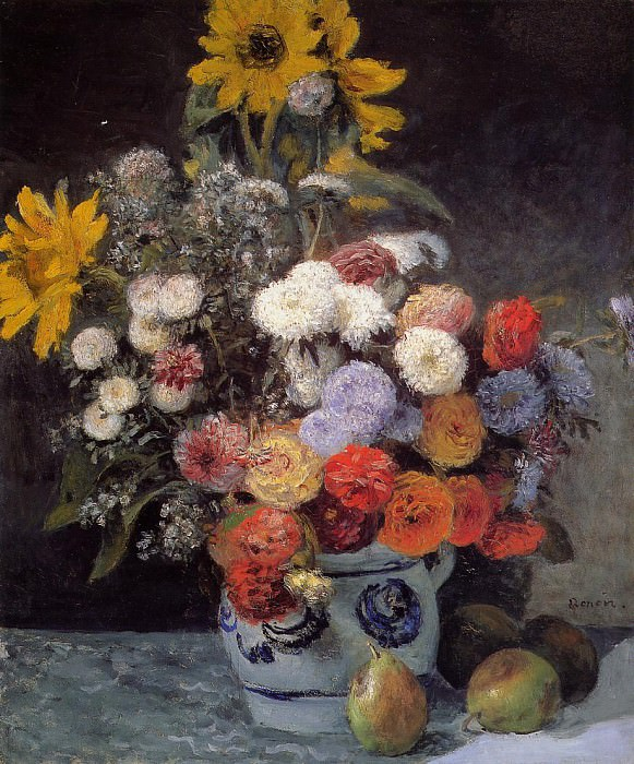 Mixed Flowers in an Earthenware Pot - 1869. Pierre-Auguste Renoir
