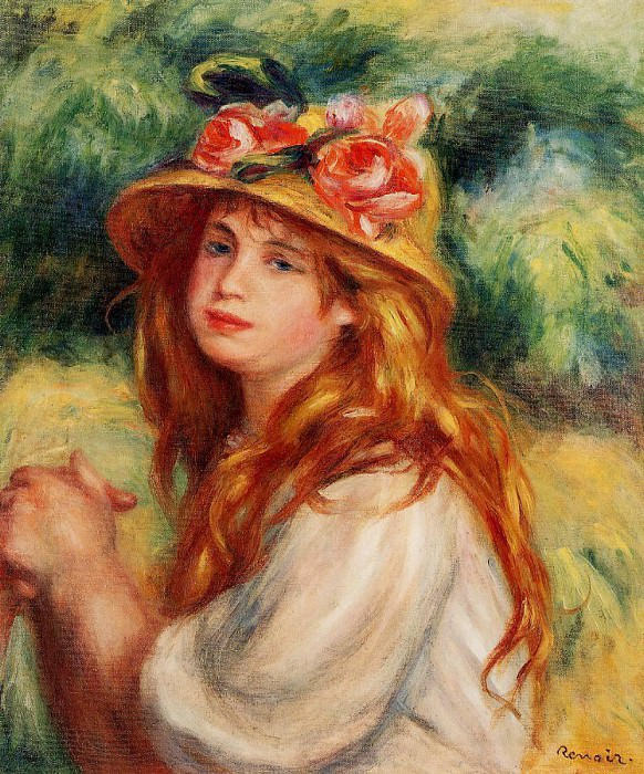 Blond in a Straw Hat (also known as Seated Girl). Pierre-Auguste Renoir