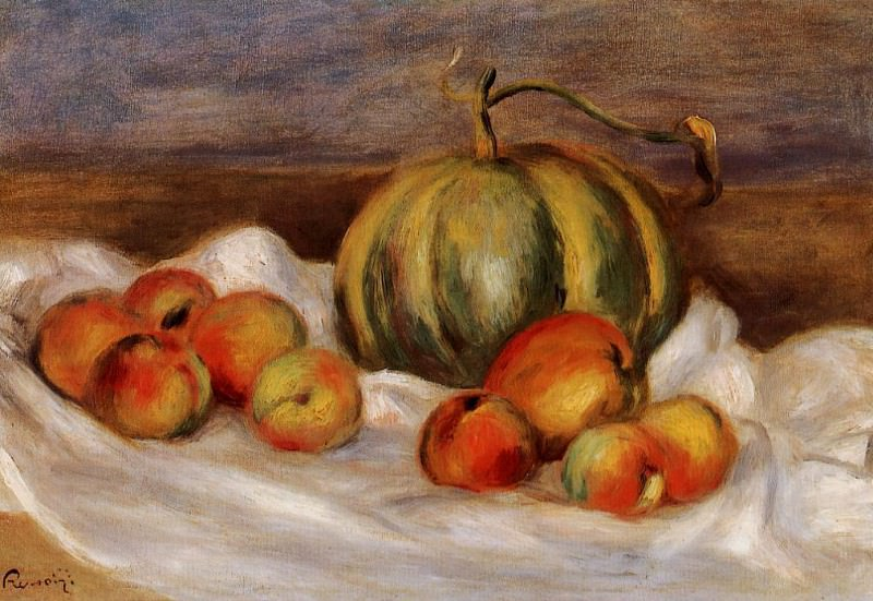 Still Life with Cantalope and Peaches - 1905. Pierre-Auguste Renoir
