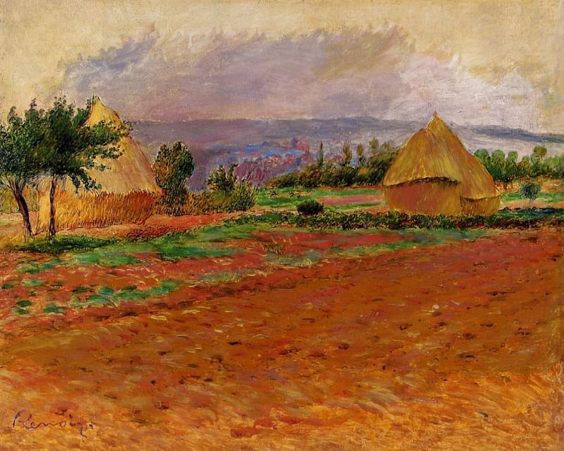 Field and Haystacks - 1885. Pierre-Auguste Renoir