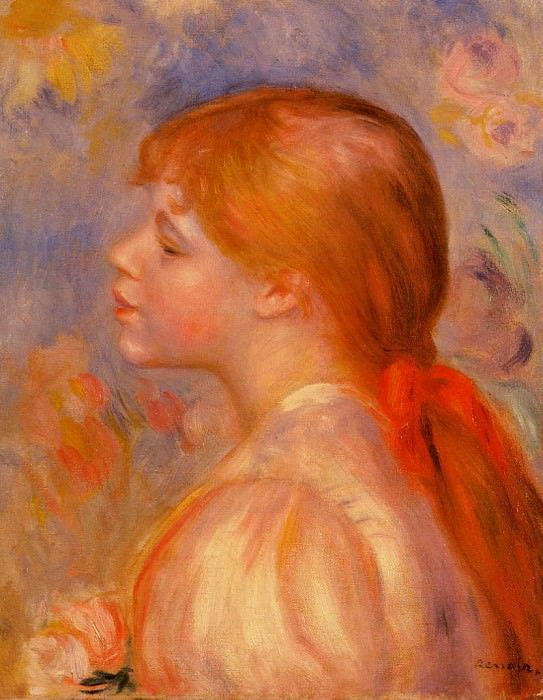 Girl with a Red Hair Ribbon - 1891. Пьер Огюст Ренуар