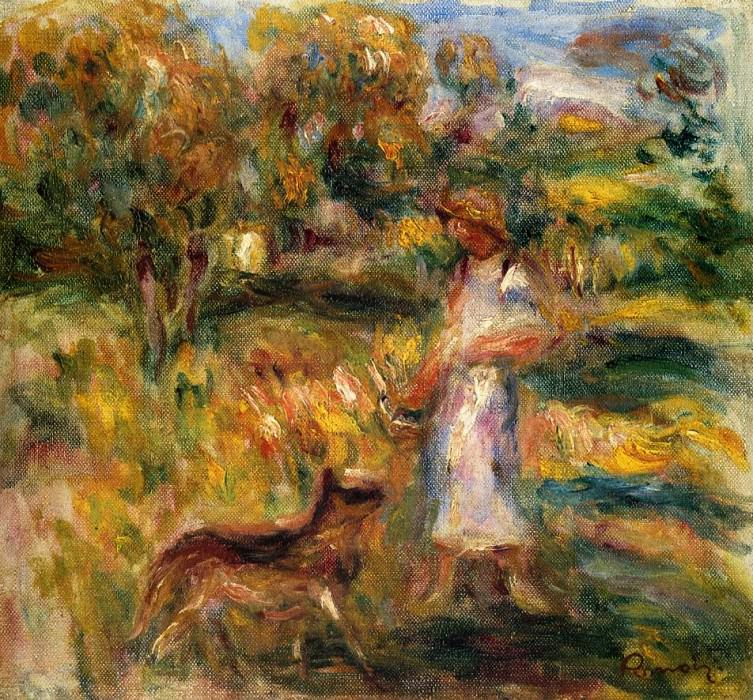 Woman in Blue and Zaza in a Landscape - 1919. Pierre-Auguste Renoir