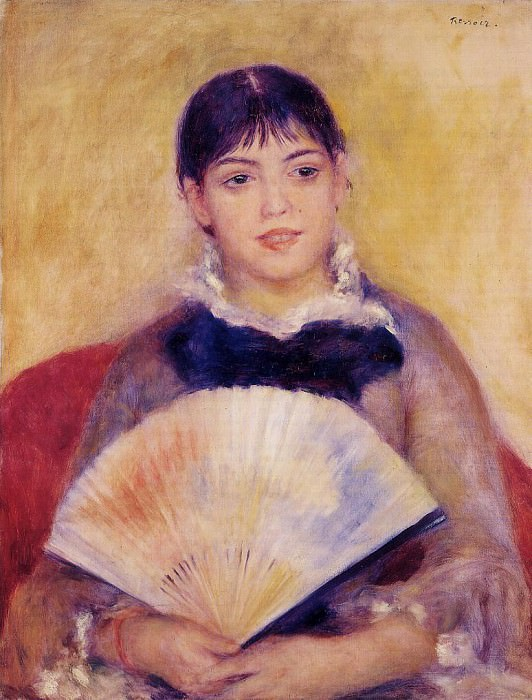 Girl with a Fan (also known as Alphonsine Fournaise) - 1880. Пьер Огюст Ренуар