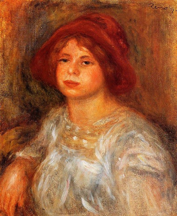 Young Girl Wearing a Red Hat - 1913. Pierre-Auguste Renoir