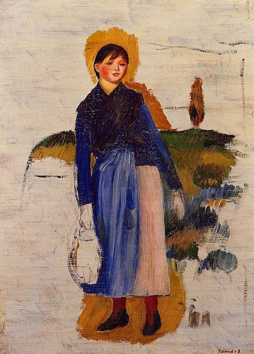 Girl with Red Stockings - 1886. Пьер Огюст Ренуар
