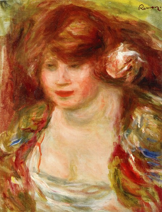 Woman Wearing a Rose - Andree - 1919. Pierre-Auguste Renoir