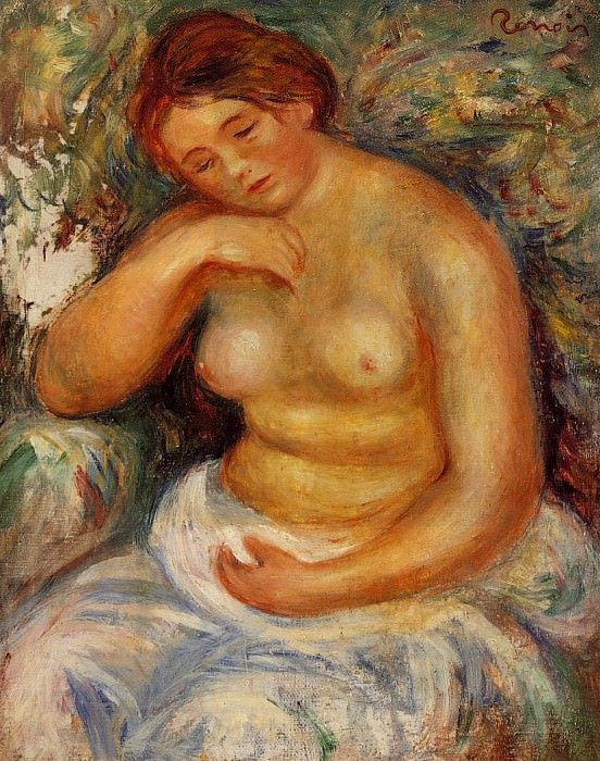 Seated Nude with a Bouquet - 1914-1915. Pierre-Auguste Renoir