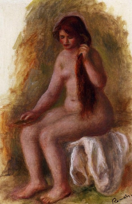 Seated Nude Combing Her Hair. Пьер Огюст Ренуар