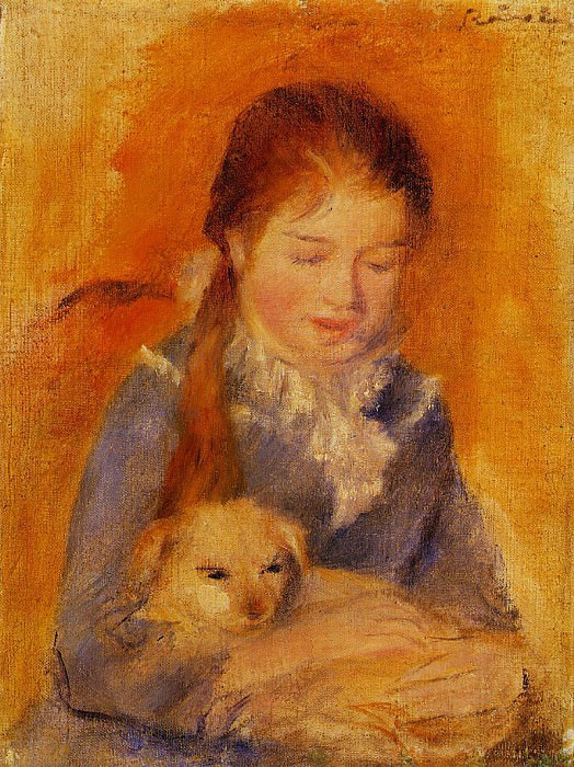 Girl with a Dog - 1875. Pierre-Auguste Renoir