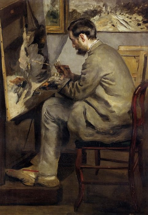 Frederic Bazille Painting The Heron - 1867. Pierre-Auguste Renoir