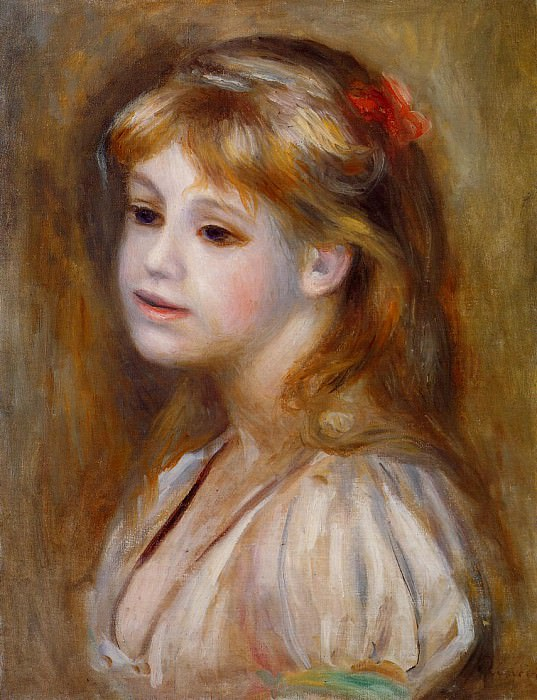 Little Girl with a Red Hair Knot - 1890. Pierre-Auguste Renoir