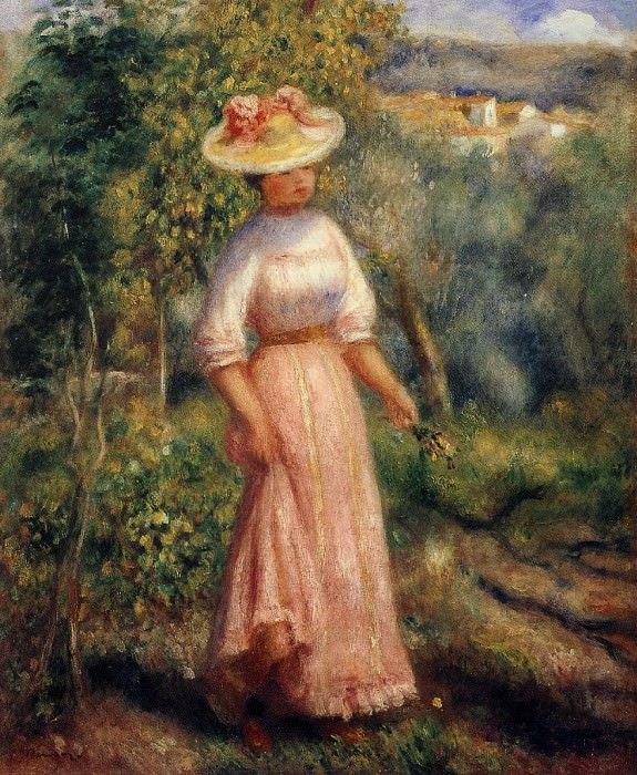 Young Woman in Red in the Fields - 1900. Pierre-Auguste Renoir