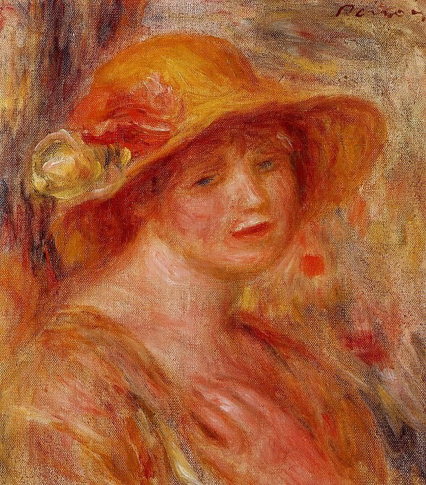 Woman in a Straw Hat - 1916 - 1918. Пьер Огюст Ренуар