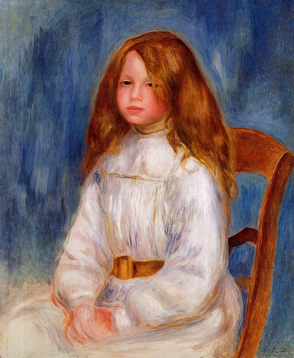 Seated Little Girl with a Blue Background - 1890. Pierre-Auguste Renoir