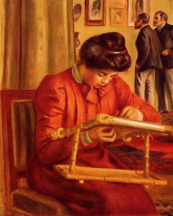 Christine Lerolle Embroidering - 1897. Pierre-Auguste Renoir