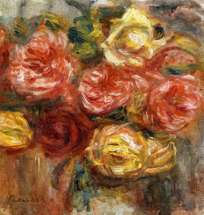 Bouquet of Roses in a Vase - 1900. Pierre-Auguste Renoir