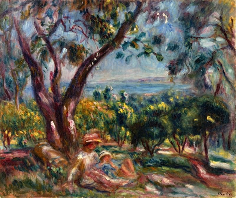 Cagnes Landscape with Woman and Child - 1910. Pierre-Auguste Renoir
