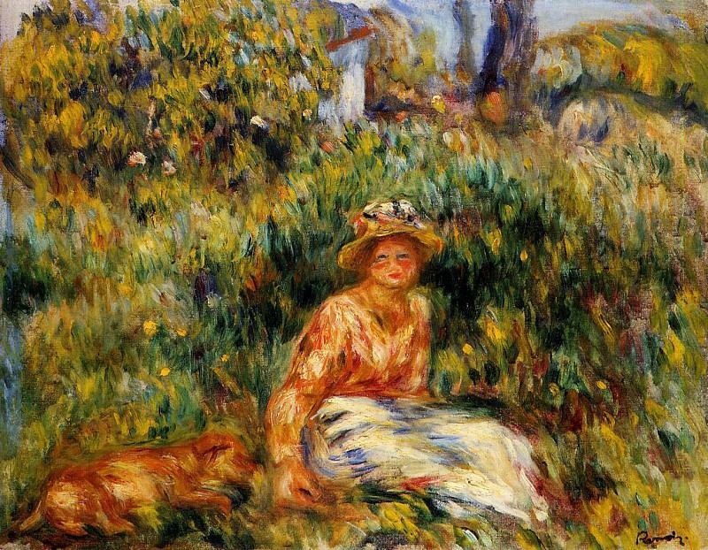 Young Woman in a Garden - 1916. Pierre-Auguste Renoir