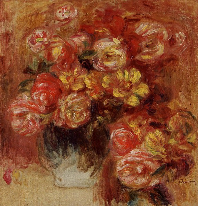 Vase of Roses. Пьер Огюст Ренуар