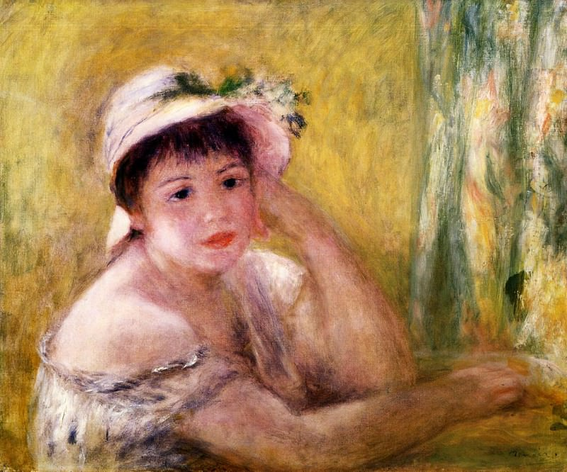 Woman with a Straw Hat - 1880. Pierre-Auguste Renoir