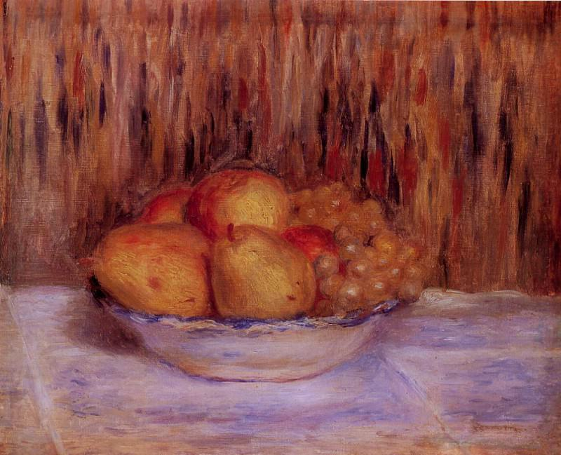 Still Life with Pears and Grapes. Pierre-Auguste Renoir
