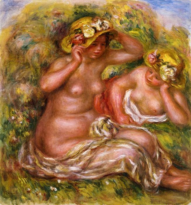 Two Women with Flowered Hat - 1915. Pierre-Auguste Renoir